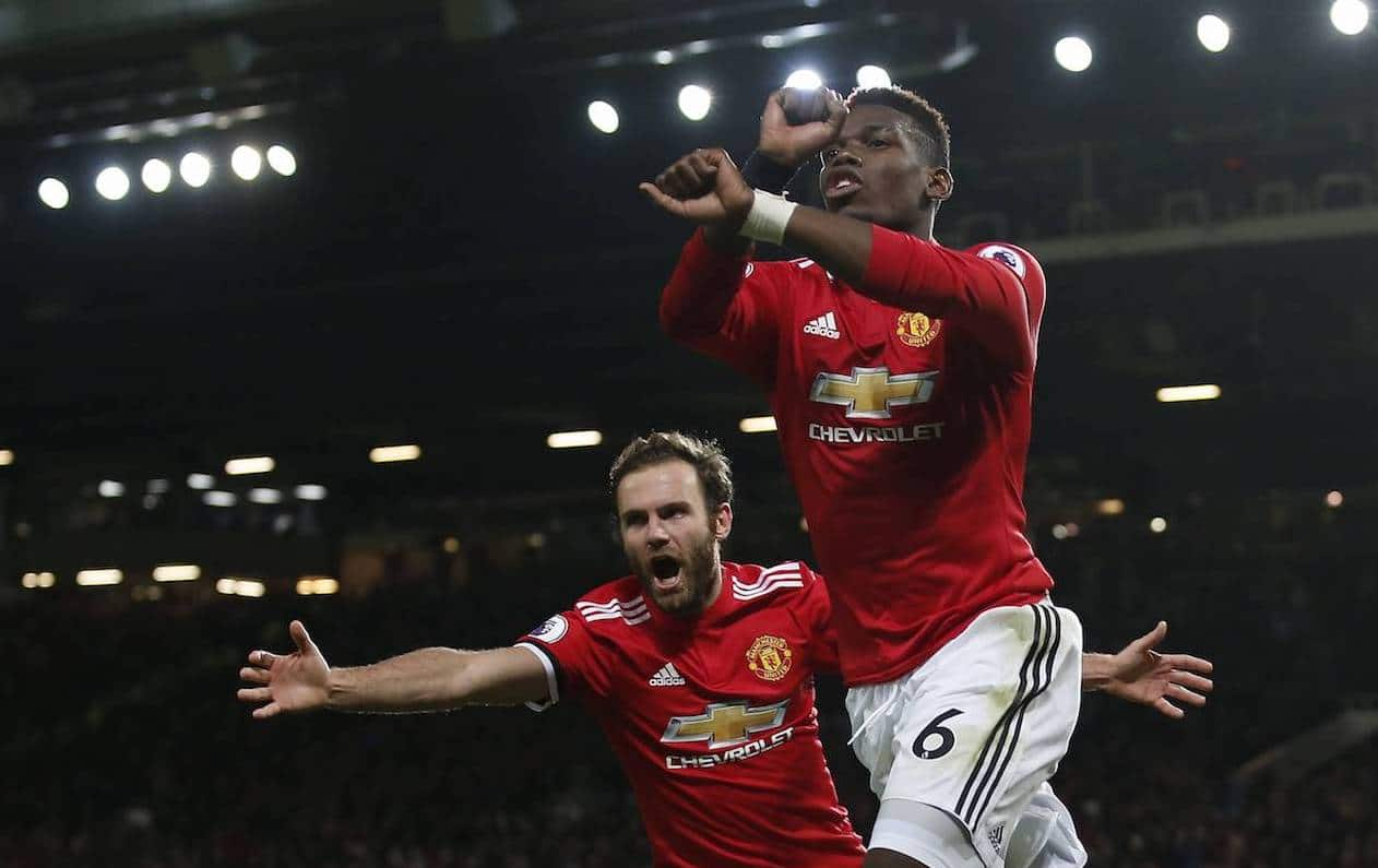 Paul Pogba of Manchester United ManU celebrates scoring the third goal during the premier league match at Old Trafford Stadiu