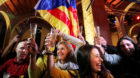 People react to results in Catalonia's regional elections at a gathering of the Catalan National Assembly (ANC) in Barcelona,