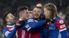 Die Basler Renato Steffen, Taulant Xhaka, Albian Ajeti und Michael Lang, von links, jubeln ueber das 2:0 im Fussball Meisters