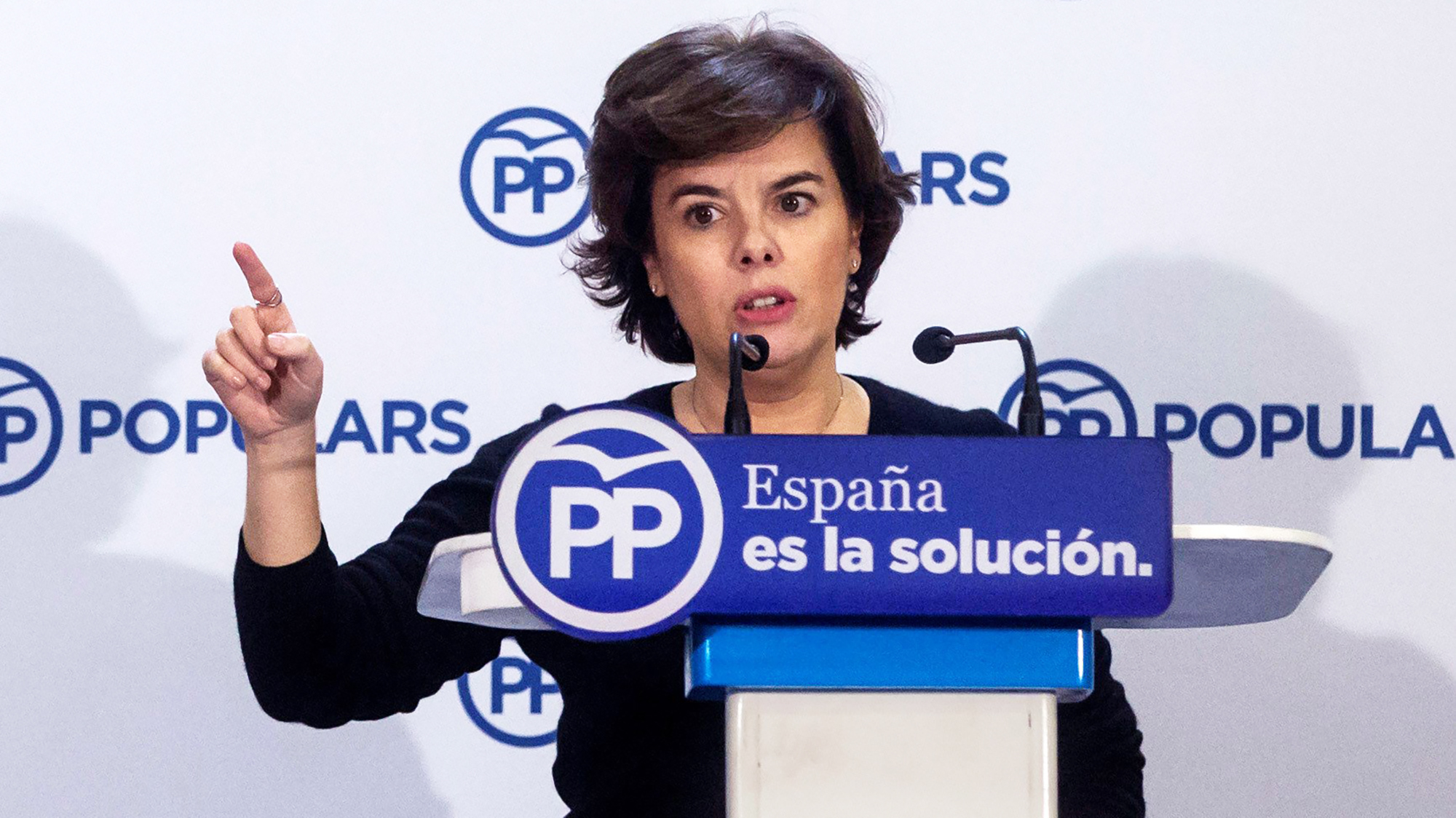 epa06393867 Spanish Deputy Prime Minister Soraya Saenz de Santamaria delivers a speech at a meeting of head of the candidate