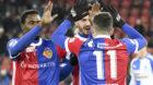 17.12.2017; Zuerich; Fussball Super League - Grasshopper Club Zuerich - FC Basel; Dimitri Oberlin (Basel) Albian Ajeti (Base