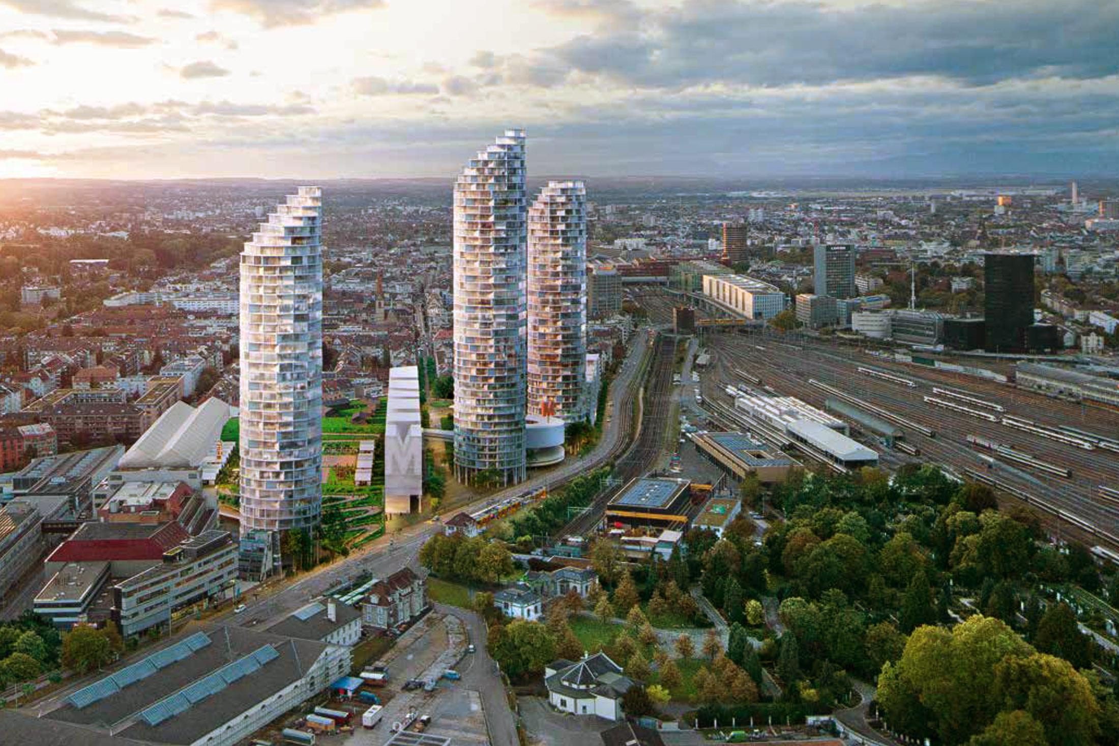Drei Wohntürme in der Höhe von 135 und 160 Metern werden zu neuen Wahrzeichen im Süden der Stadt.