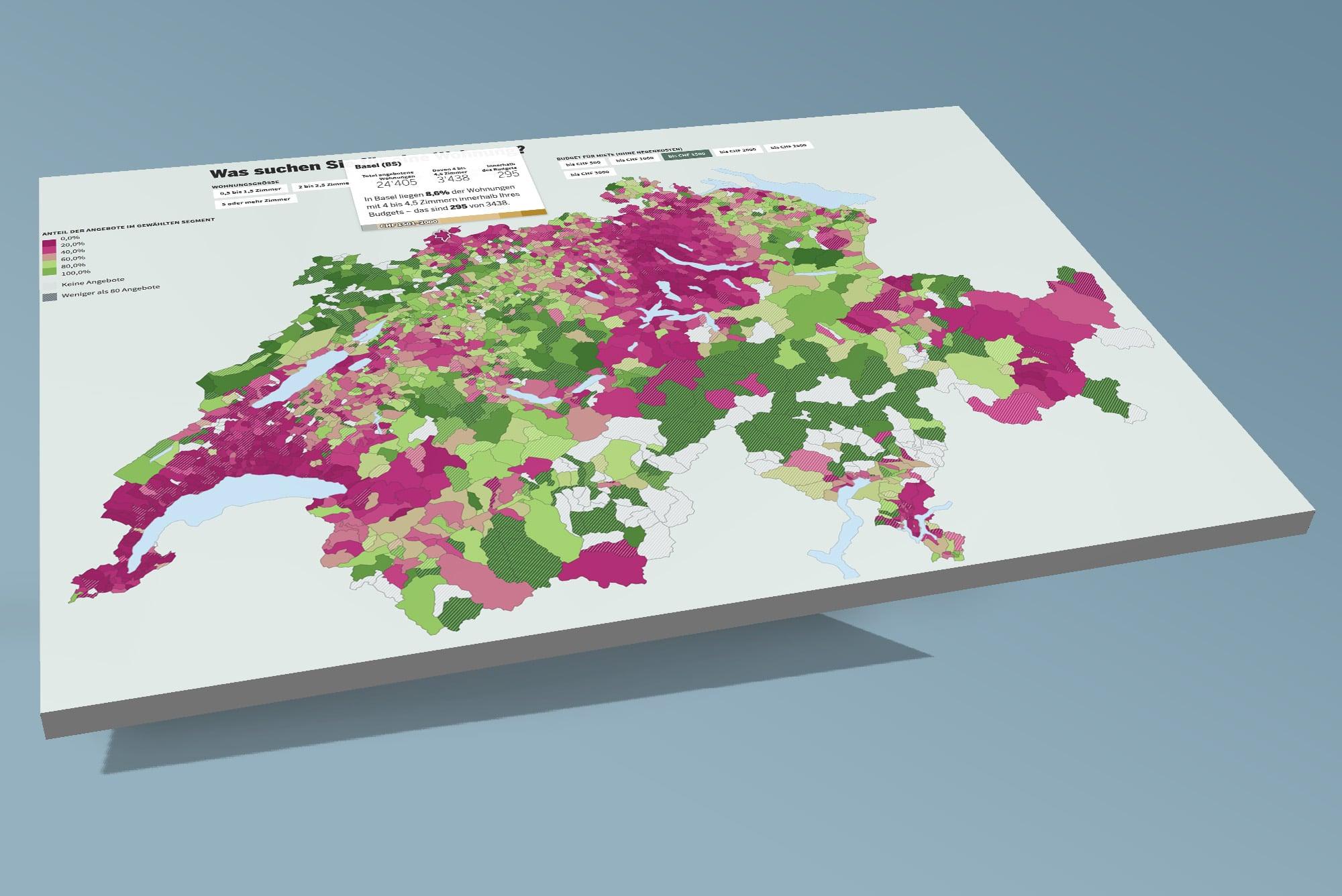Die interaktive Karte des «Tages-Anzeigers» schafft Abhilfe bei der Budget-Planung.
