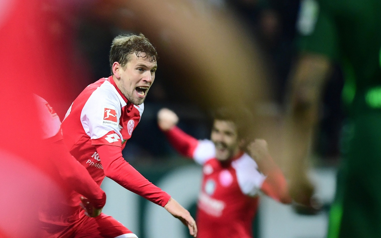 16.12.2017; Bremen; Fussball 1.Bundesliga - SV Werder Bremen - 1. FSV Mainz 05;Torschuetze Fabian Frei (Mainz) jubelt nach d