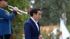 Greek Prime Minister Alexis Tsipras is seen during a welcome ceremony at the Presidential Palace in Nicosia, Cyprus January 1