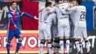 04.02.2018; Basel; Fussball Super League - FC Basel - FC Lugano;Luganos Spielern jubeln nach dem Tor zum 0:1. Enttaeuschung