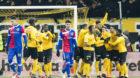 27.02.2018; Bern; Fussball Schweizer Cup - BSC Young Boys - FC Basel;YBs Spielern jubeln nach dem Tor zum 1:0(Pascal Muller