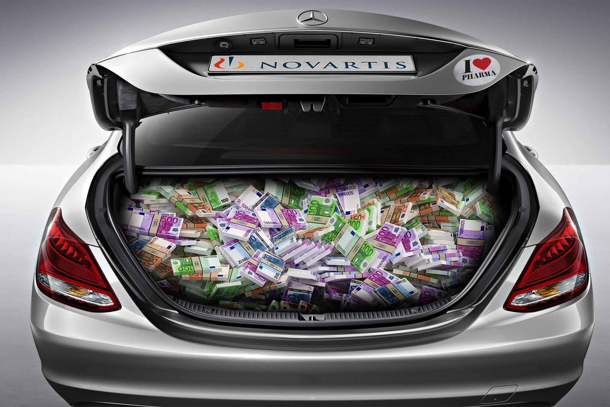 Geldgeschenke an hohe Politiker, geliefert im Novartis-Dienstauto, davon berichten  griechische Medien.