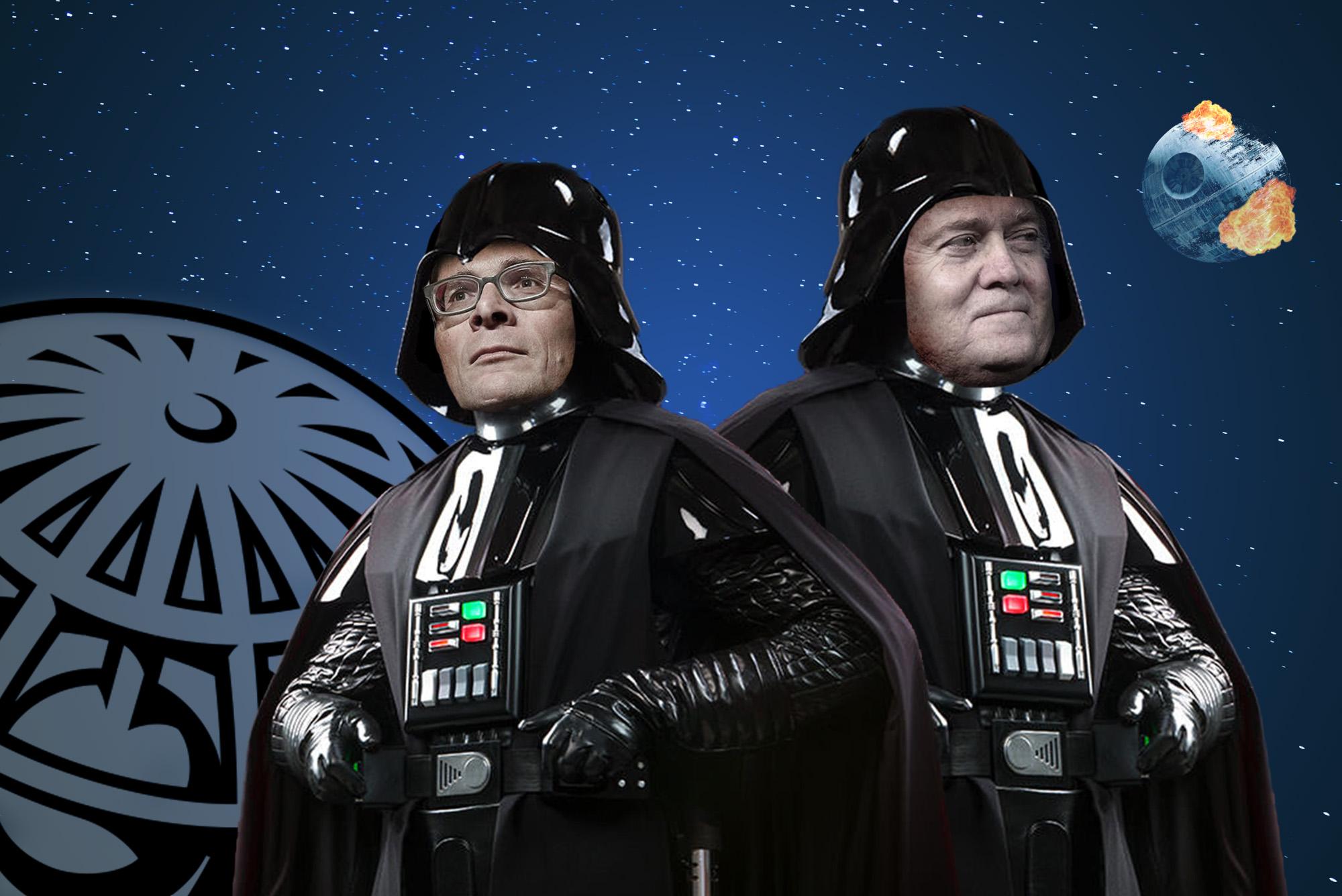 Gleich zwei Darth-Vader-Fans stehen in Zürich-Oerlikon gemeinsam auf der Bühne: Roger Köppel und Steve Bannon.