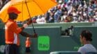 March 24, 2018 - Key Biscayne, Florida, United States - Roger Federer protected with the Miami Open umbrella at the Miami Ope