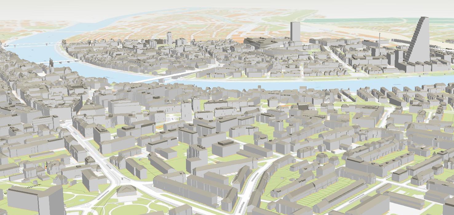 Der Schatten kommt noch: Basel mit Roche-Turm in 3D.