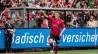 Fussball Bundesliga 32. Spieltag SC Freiburg vs 1. FC Koeln Jubel bei Nils Petersen (SC Freiburg 18) nach Tor zum 2:0; Fussba