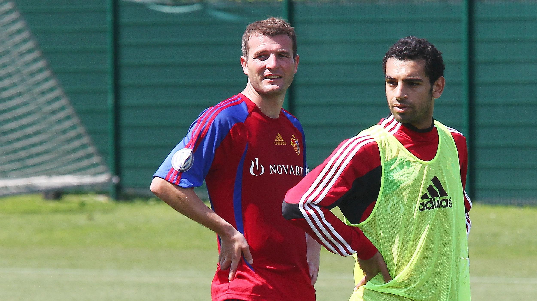 18.06.2012  Basel Fussball Herren  Trainingsstart Saison 2012/2013  © Alexander Frei (li) und Mohamed Ghaly Salah  (FC Base