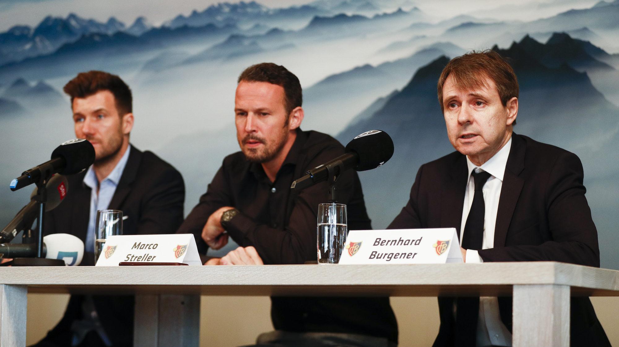 20.05.2018; Basel; Fussball Super League - FC Basel Saisonbilanz Medienkonferenz; Trainer Raphael Wicky, Sportchef Marco Str