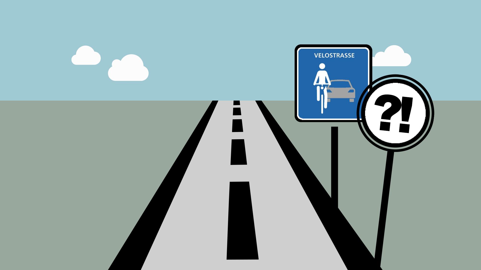 Das offizielle Velostrassenschild verspricht viel für Velofahrer. Aber was?