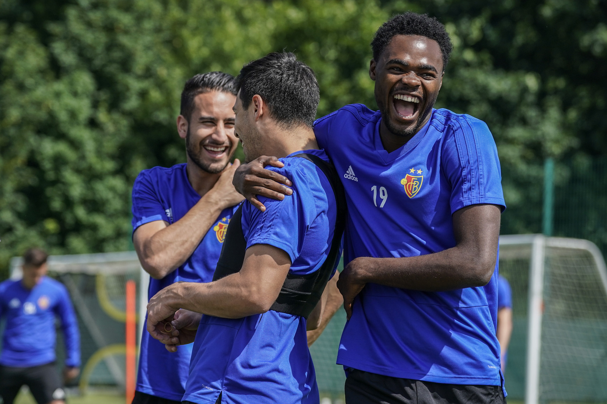 14.06.2018; Basel; Fussball Super League - Training FC Basel;Samuele Campo (Basel) Blas Riveros (Basel) Dimitri Oberlin (Bas