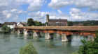 (GERMANY OUT) Germany - Baden-Wuerttemberg - Bad Saeckingen: View of the Rhine bridge, in the background the Fridolin minster