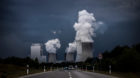 BOXBERG, GERMANY - JUNE 25: The lignite-fired power station of Boxberg is captured in front of an upcoming thunderstorm on Ju