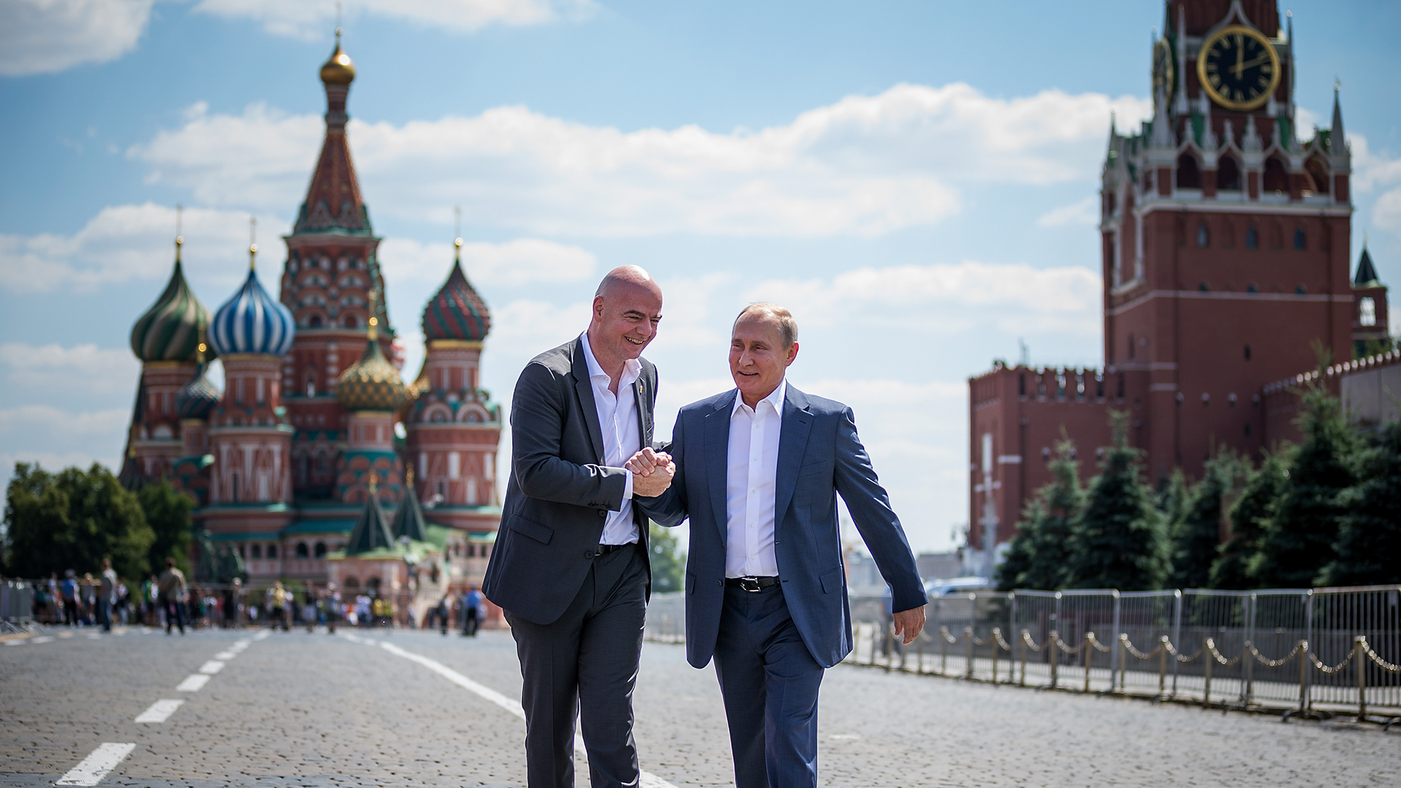 MOSCOW, RUSSIA - JUNE 28: Gianni Infantino and Vladimir Putin meet at Red Square on June 28, 2018 in Moscow, Russia. (Photo b