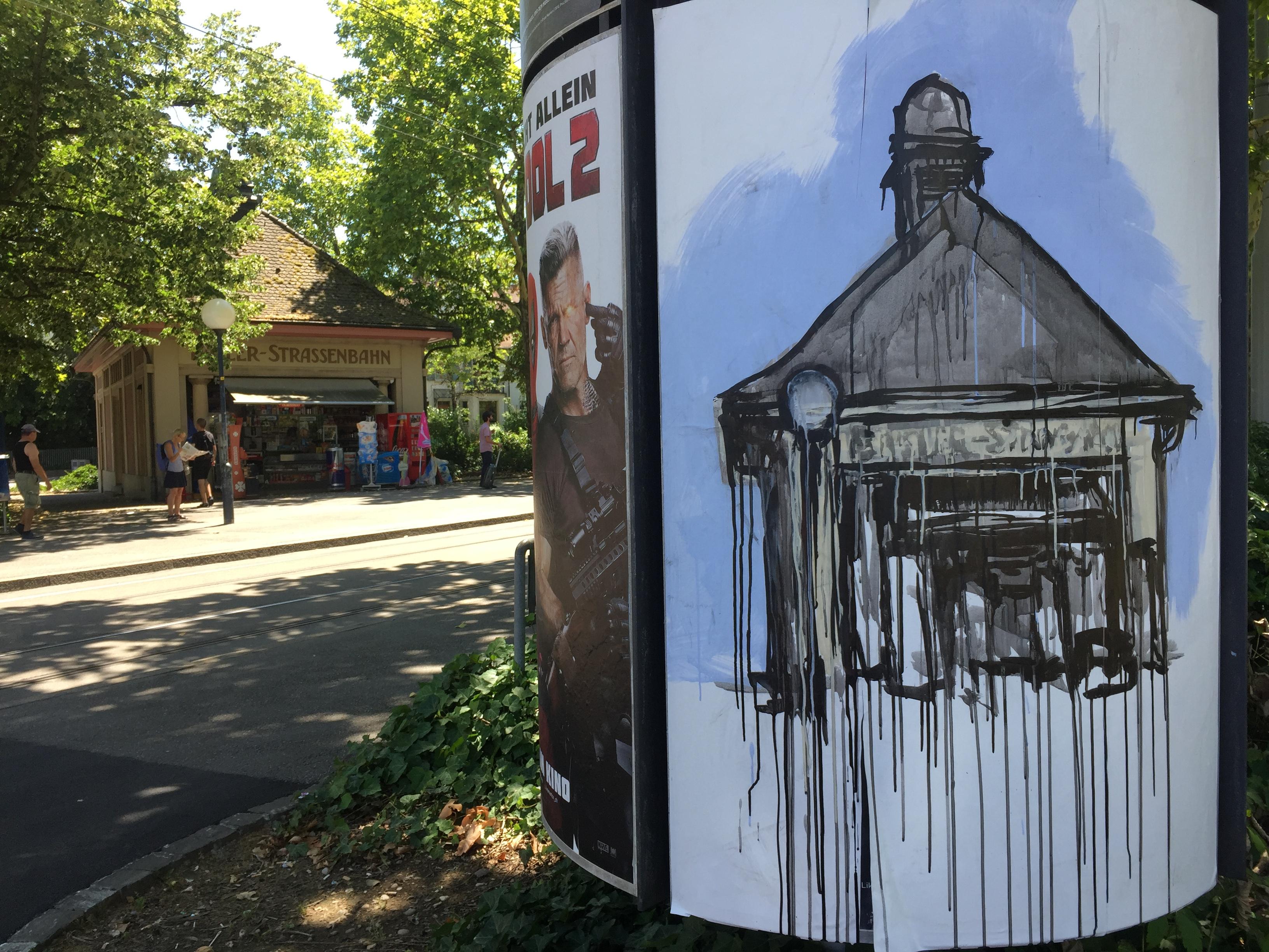 Eines der neuen Bilder hängt am Kannenfeldplatz und zeigt den Kiosk im ehemaligen Verkaufshaus der Basler Strassenbahn.