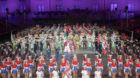 The Cast of the Basel Tattoo 2018 performs during the finale  on stage during the dress rehearsal for the Basel Tattoo, Thurs