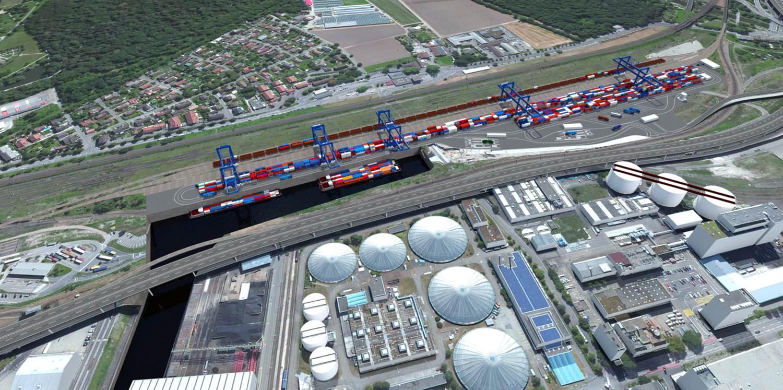 Zwischen Autobahn und der Nord-Süd-Hauptachse des Schienenverkehrs soll der neue Containerterminal entstehen.