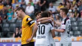 22.05.2016; Bern; Fussball Super League - BSC Young Boys -  FC Basel: Basler juben nach dem Tor zum 0:2. (Claudio de Capitani