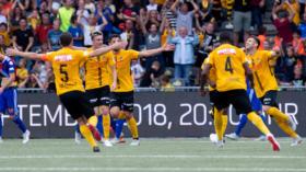 23.09.2018; Bern; Fussball Super League - BSC Young Boys - FC Basel;Die YB Spieler jubeln nach dem Tor zum 2:0(Claudio de C
