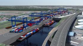 Visualisierung des geplanten trimodalen Container-Terminals mit dem Hafenbecken drei.