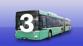 Bitte umsteigen: Ab Aeschenplatz verkehren auf der 3er-Linie einen Monat lang Busse statt Trams.
