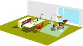 Höchstmögliche Flexibilität: die 60 Quadratmeter grossen Wohnbaumodule lassen sich auch als Arbeitsplatz nutzen.
