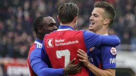 04.11.2018; Basel; FUSSBALL SUPER LEAGUE; FC Basel - FC Lugano; Kevin Bua (Basel) Luca Zuffi (Basel) Eder Balanta (Basel) ju